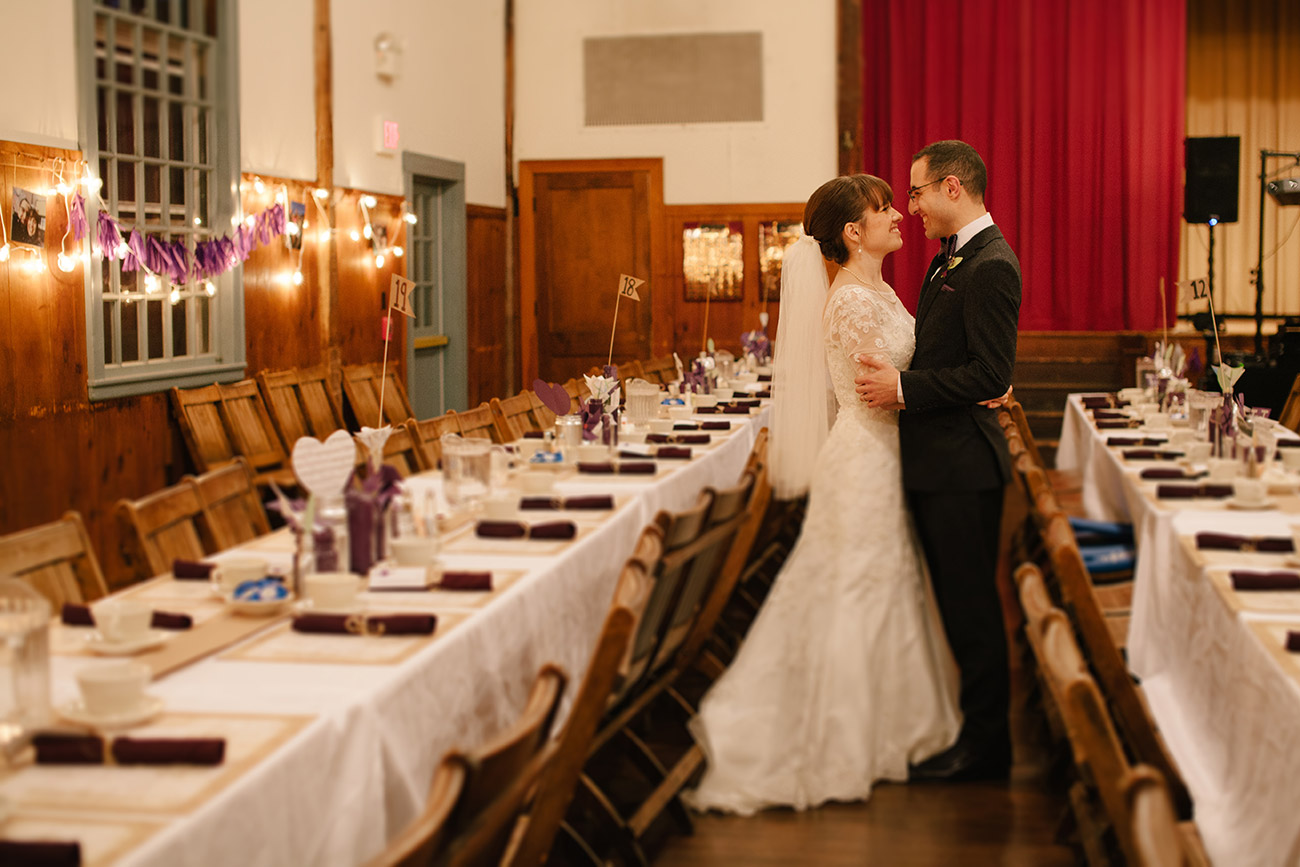 Bride and groom at Concord Scout House