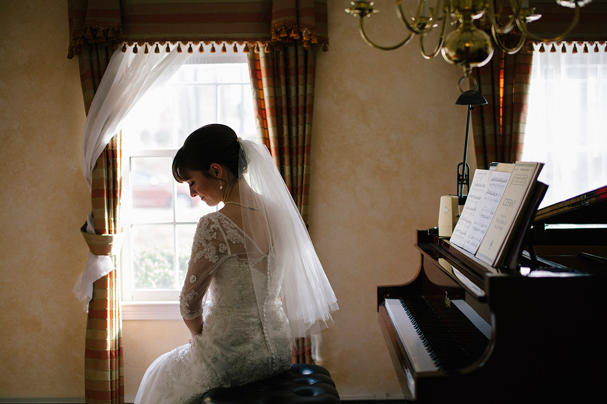 Candid bridal portrait at home