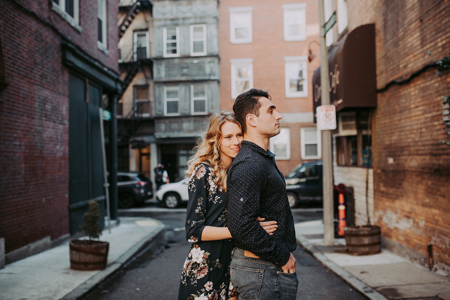 boston north end engagement session