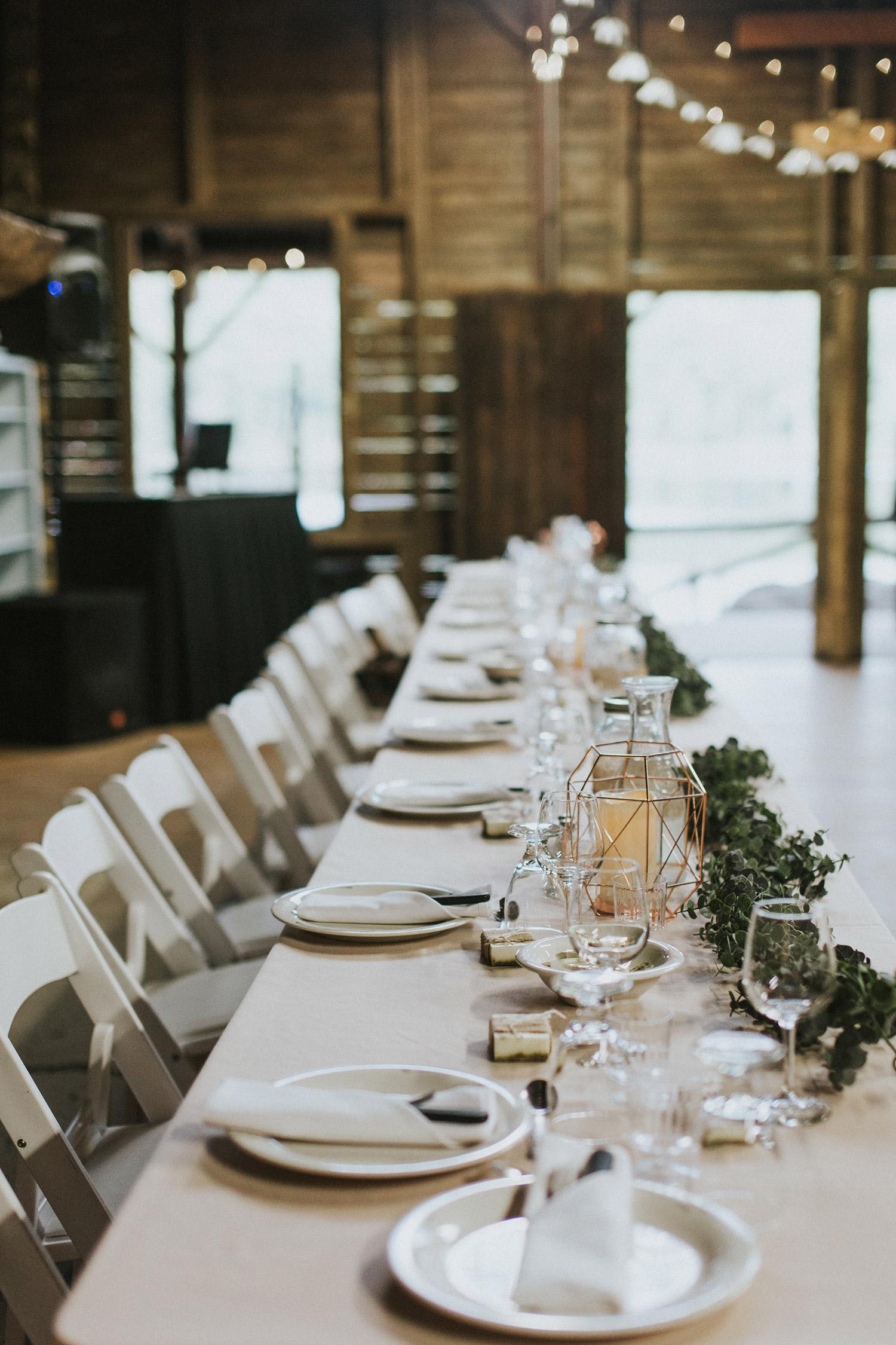 Massachusetts forest wedding   reception table
