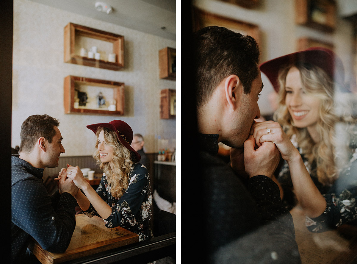 coffee engagement photos