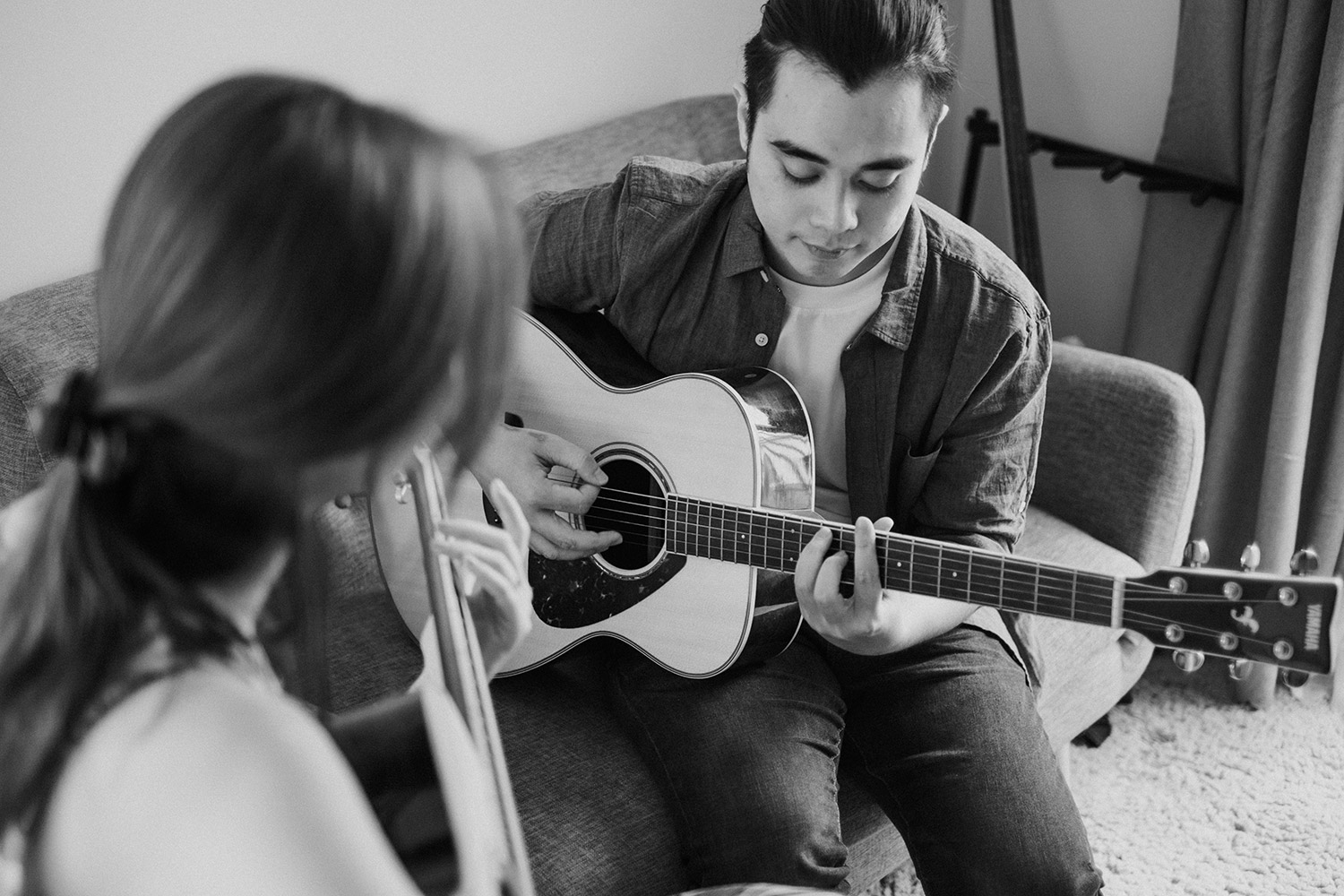 music guitar engagement photos indoor | Boston photographer